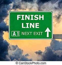 FINISH LINE road sign against clear blue sky