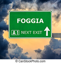 FOGGIA road sign against clear blue sky