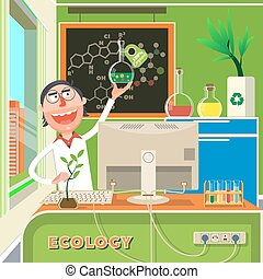 Scientist in chemical lab cartoon vector
