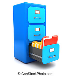urgent folder - 3d illustration of archive cabinet with...