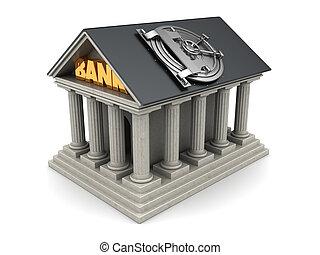 bank - 3d illustration of bank building with vault door