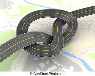 road knot - abstract 3d illustration of road knot over city...