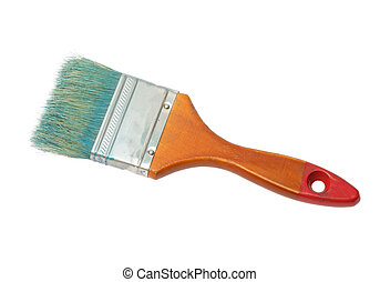 Old dirty paint brush isolated on white background