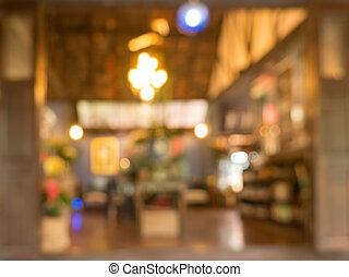 kaffe, butik, abstrakt, suddig, bakgrund, avbild