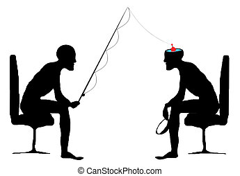 fishing into you - two human silhouette and fishing pole...