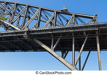Partial view of Sydney Harbour Bridge with people walking on...