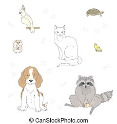 Set of isolated cute pets