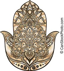 the golden hamsa - drawing of a Hand of Fatima Hamsa in...