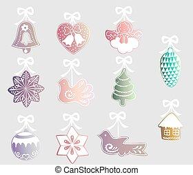 set of Christmas decorations