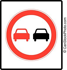 No overtaking road traffic sign icon in flat style on a...