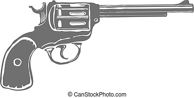 Revolver Gun isolated on white background. Vector...