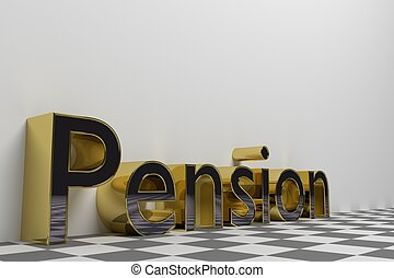 Pension gold rendered illustration with white background