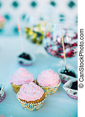 Various Dessert Sweet Cupcakes On Table Sweets Candy Bar...