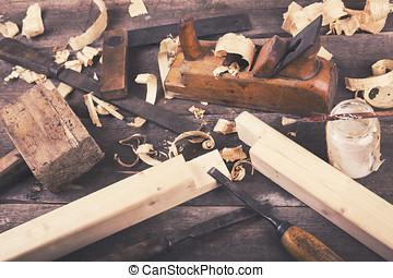 Trä, Årgång,  -, träbearbetning, bord, redskapen,  Carpentry