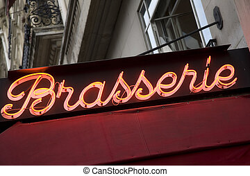 Brasserie Cafe Sign in Paris, France, Europe