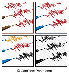 seismograph - stylized illustration on the theme of seismic...