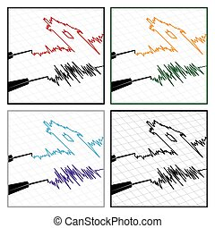 stylized seismograms - stylized vector illustration on the...