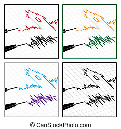 stylized seismograms - stylized illustration on the theme of...