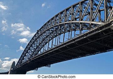 Partial view of Sydney Harbour Bridge in Sydney, Australia -...