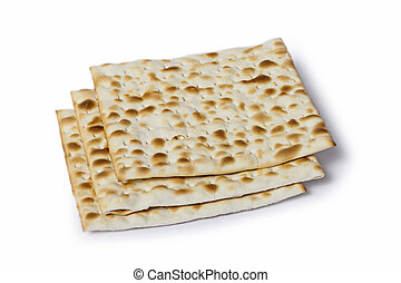 Multiple matza flatbreads lying one over another - Multiple...