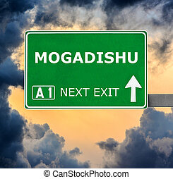 MOGADISHU road sign against clear blue sky