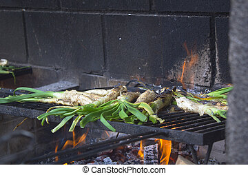 Calçots in a barbecue