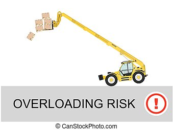 Tip over risk. Non rotating telescopic handler (forklift) on...