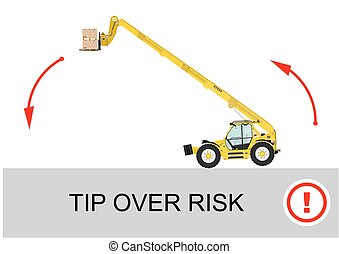 Tip over risk Non rotating telescopic handler forklift on a...
