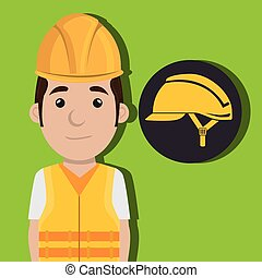 worker protection power plant vector illustration design