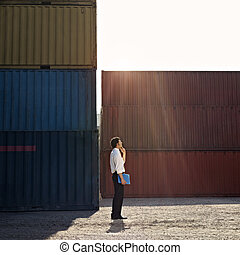 business man with shipping containers - Mid adult...