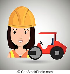 worker steamroller construction vector illustration design...