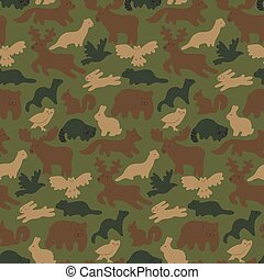 wild forest animals - Seamless camouflage background with...