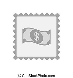 Isolated mail stamp icon with a dollar bank note -...
