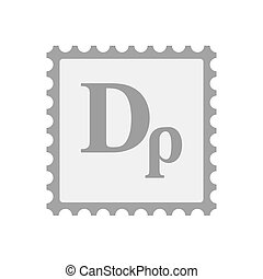 Isolated mail stamp icon with a drachma currency sign -...