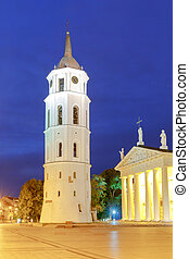 Vilnius Cathedral of St Stanislaus in the central square -...