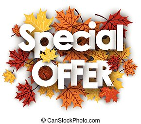 Special offer background with maple leaves.