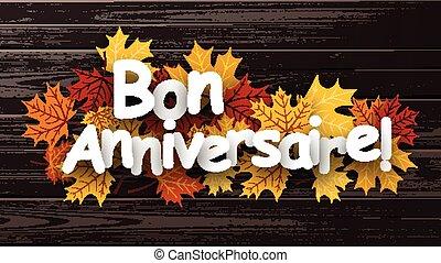 Happy birthday background with leaves. - Happy birthday...