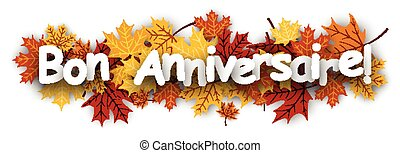 Happy birthday banner with leaves. - Happy birthday banner...