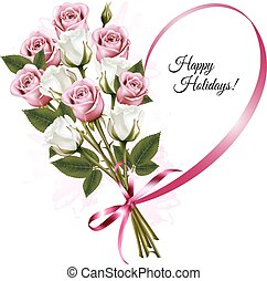 Happy Holidays ribbon heart shape with rose bouquet. Vector.