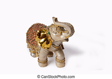 Elephant onyx - Elephant figurine from onyx on a white...