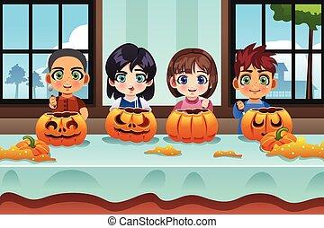Kids Carving Pumpkin - A vector illustration of kids carving...
