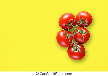 Bunch of cherry tomatoes on table