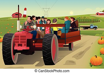 People on a Hayride - A vector illustration of people on...