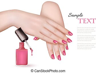 Manicured hands and a nail polish bottle Vector