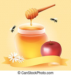 Traditional apple and honey. Design for Rosh Hashanah...