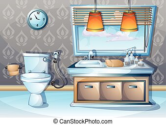 cartoon vector illustration interior bathroom with separated...