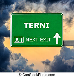 TERNI road sign against clear blue sky