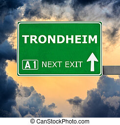TRONDHEIM road sign against clear blue sky