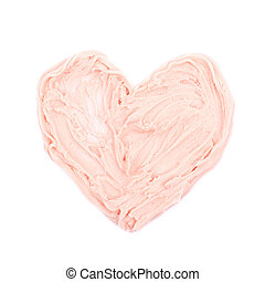 Heart shape made of frosting cream isolated over the white...