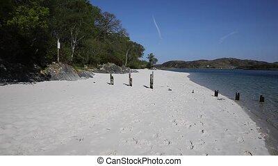 Beautiful beach Scotland UK pan - Morar beach Scotland UK...